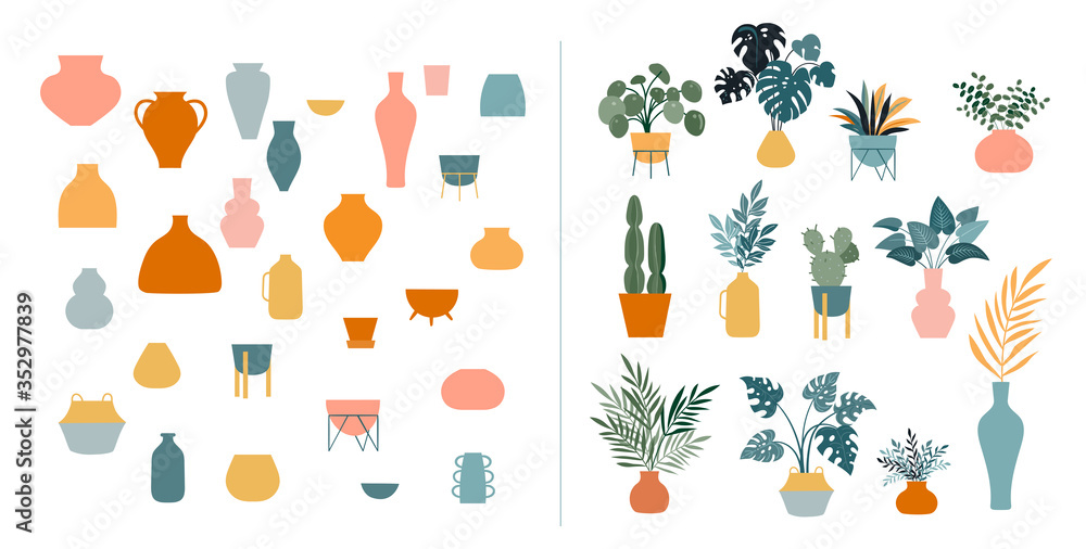 Fototapeta Collection of stickers and floral design elements, plants, rainbow and leaves, hand drawn in trendy doodle style. Colorful vector illustrations and prints