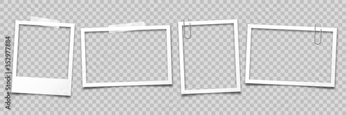 Fototapeta Realistic empty photo card frame, film set. Retro vintage photograph with transparent adhesive tape and paper clip. Digital snapshot image. Template or mockup for design. Vector illustration. obraz