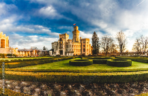 Photo Castle of Hluboká nad Vltavou in South Bohemia of Czech republic, Europe
