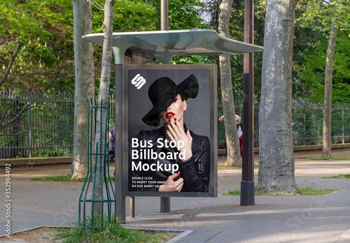 Obraz Billboard in Bus Stop Mockup - fototapety do salonu