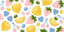 Strawberries Oranges Cherries Blueberries Blackberries On A White Background. Bright Illustration Of Summer Fruits. Fruit Seamless Background. Set Of Fruits. Collection Of Colorful Cartoon Fruit Icons