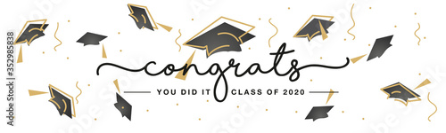Congrats you did it Class of 2020 handwritten typography lettering line design g Fototapeta