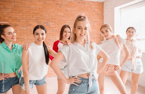 Obraz Beautiful young women dancing in studio - fototapety do salonu
