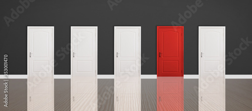 Fototapeta Red door among white ones in room. Concept of choice obraz