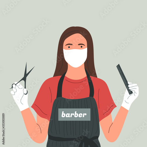 Photo A Barber in a face mask and gloves with scissors and a comb in her hands