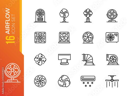 Photo Airflow icons set