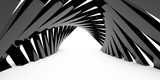 Fototapeta Do przedpokoju - A corridor of black arches of a triangular shape. Empty space at the end of the tunnel. 3d rendering image.