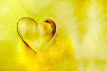 Abstract Background: Golden Heart On Golden Grungy Surface