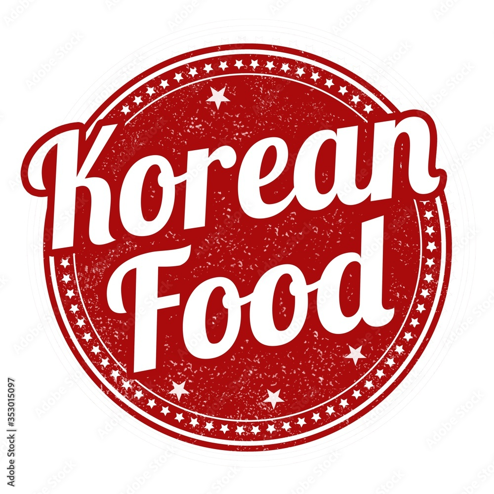 Fototapeta Illustration of a red Korean food sign stamp isolated on a white background