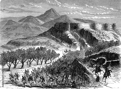Cuadros en Lienzo View of Gergovie. vintage illustration.