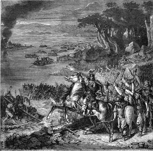 Carta da parati Invasion of the Barbarians, vintage illustration.