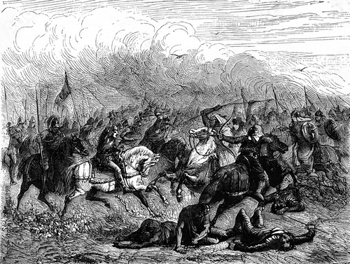 Fototapeta Charles Martel and Abderame at the Battle of Poitiers, vintage illustration