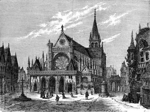 Cuadros en Lienzo The Church of Saint-Germain-l'Auxerrois, vintage illustration.