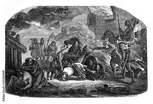 Photo King William injured by burning the city of Mantes, vintage illustration