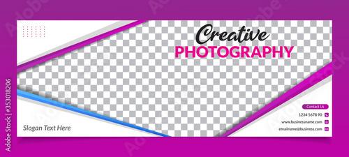 Obraz na plátně Premium Vector - Modern Abstract Photography Facebook Cover Banner Template