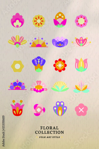 Flower folk art design elements vector set Tableau sur Toile