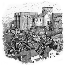 Falaise Chateau Where Is Guillaume The Conqueror In 1027, Vintage Illustration.