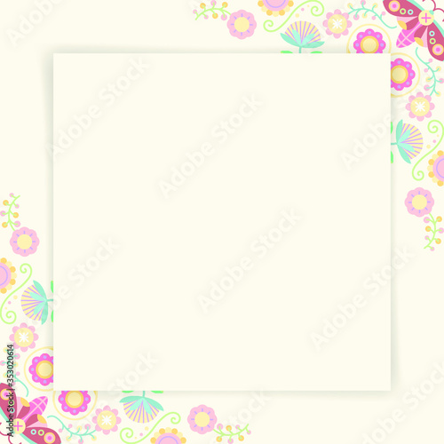 Pastel folk art design element frame vector Tableau sur Toile