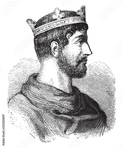 Fototapeta Lothar I, roman emperor, vintage engraving