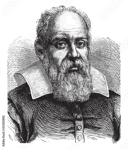 Photo Galileo Galilei, vintage illustration.