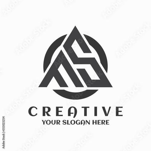 Fotografia FS logo circle triangle symbol creative design template