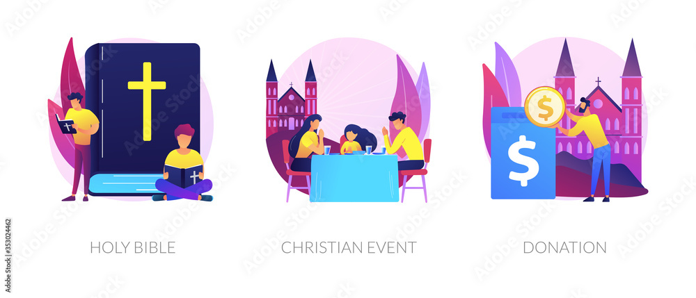 Fototapeta Church congregation lifestyle symbols. Sacred book, religious ceremonies and financial contribution. Holy bible, christian event, donation metaphors. Vector isolated concept metaphor illustrations
