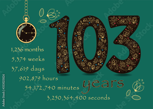 Time counting card. Number 103 and Pocket Watch Wallpaper Mural