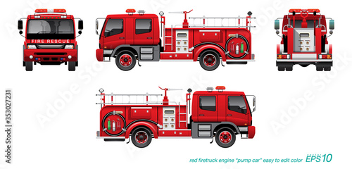 Obraz na płótnie VECTOR EPS10 - red firetruck template, fire engine, pump car, isolated on white background