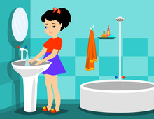 Girl Washes In A Bathroom