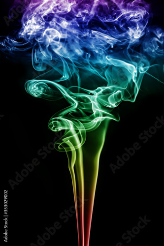 White smoke on a black  abstract background Wall mural