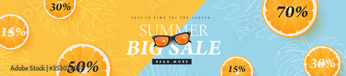 Fototapeta Summer sale design with orange tropical abstract background layout banners .Vector illustration template. obraz