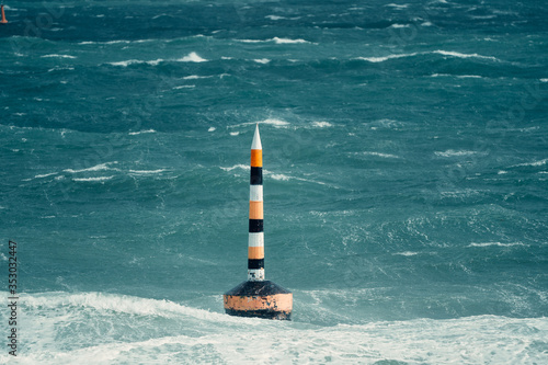A once in a decade storm hitting the iconic Cottesloe bollard Fototapet