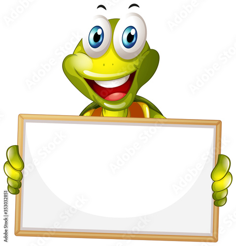 Blank sign template with happy turtle on white background Wall mural