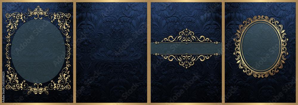 Fototapeta Classic Dark Blue and Gold decorations Wedding Cards