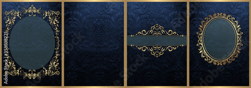 Obraz Classic Dark Blue and Gold decorations Wedding Cards  - fototapety do salonu
