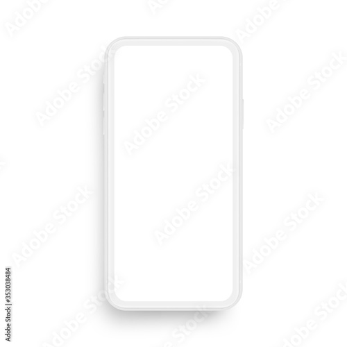 Obraz na plátně Clay mobile phone mockup isolated on white background, front view