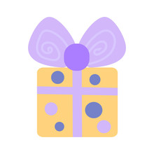 Gift Square Yellow Box In Purp...