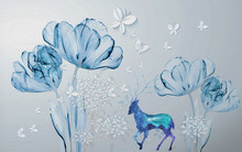 3d Illustration, Large Abstract Flowers And Blue Deer, White Paper Butterflies