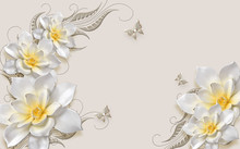 3d Illustration, Beige Ornamental Background, Large White Flowers With A Yellow Center