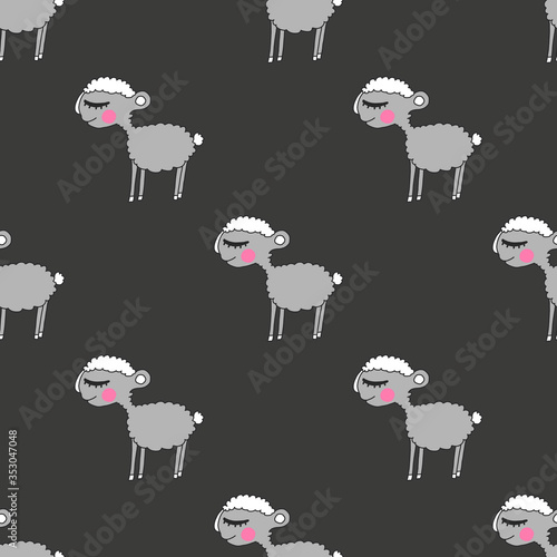 Seamless pattern with sheep Fototapete