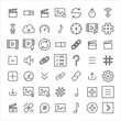 Set of sign related vector line icons.