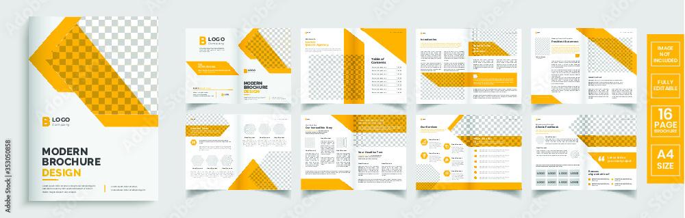 Obraz Brochure template layout design,minimal business brochure orange template layout,annual report minimal template layout design, editable brochure template layout fototapeta, plakat