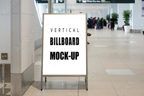 Obraz na plátne Mock up blank vertical signboard on Stainless steel stand
