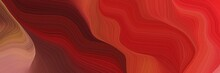 Horizontal Banner Background With Firebrick, Dark Red And Indian Red Color. Modern Curvy Waves Background Illustration