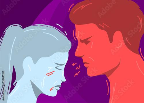 Concept of Domestic violence. Man threatening to woman. Fototapeta