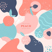 Vector Frame With Doodle Peach And Abstract Elements. Hand Drawn Illustrations.