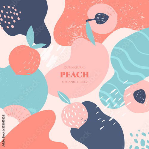 Leinwand Poster Vector frame with doodle peach and abstract elements