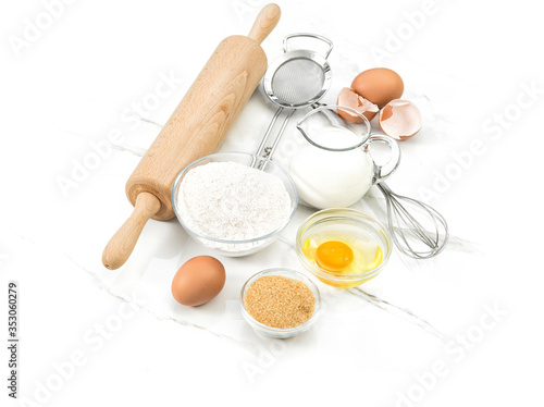 Food ingredients eggs flour sugar milk Kitchen tools Dough preparation Canvas