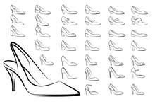 Modern High Heel Fashion Shoe Woman Vector Set