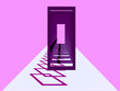 canvas print picture - 3d render, minimal fashion background, arch, tunnel, corridor, portal, perspective,purple